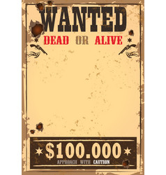 wild west bounty or wanted paper vector image vector image