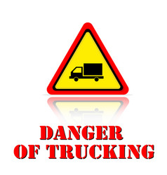 yellow warning danger of trucking icon background vector image