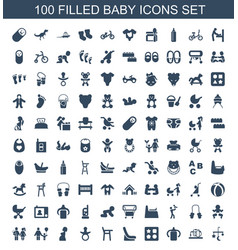 100 baby icons vector