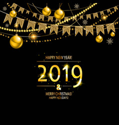 2019 golden new year vector image