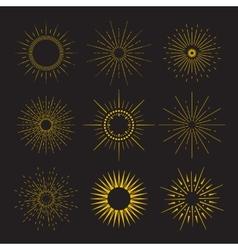 9 art deco vintage sunbursts collection vector
