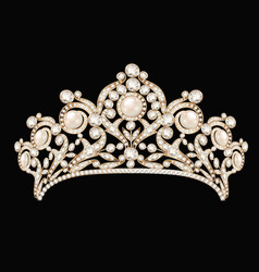 A female wedding diadem crown tiara gold with vector