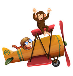 A pilot riding the plane with monkey vector