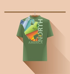 Abstract green shirt with north america vector