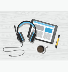 acoustic headphones with tablet and coffee vector image