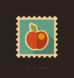 Apple flat stamp fruit vector