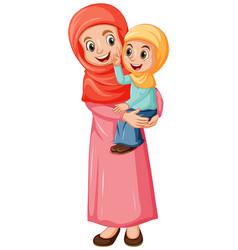 Arab muslim mom and daughter in traditional vector