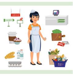 asian woman as cashier counter vector image