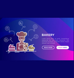 bakery concept baker with croissant vector image