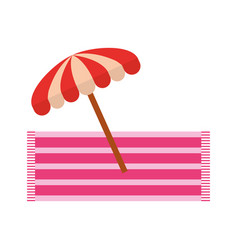 Beach umbrella summer with towell vector