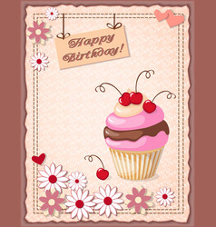 birthday card with cake cherry hearts and flowers vector image