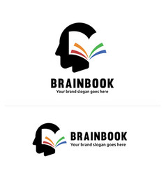 Book brain identity multiple color book flipping vector
