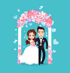 bride and groom standing together wedding vector image
