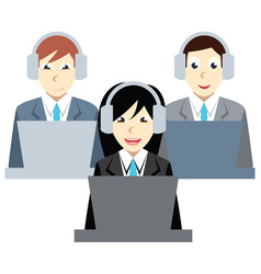 Call center agents team at office vector