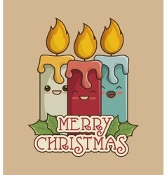 Candles christmas icon vector