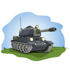 Cartoon gray military army large tank vector