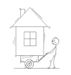 Cartoon of man pushing his house on handcart or vector
