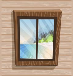 cartoon window view sunny day on paradise island vector image