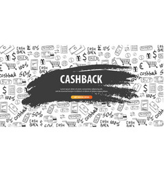 cashback service save your money hand draw vector image
