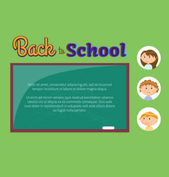 chalkboard and pupils or children back to school vector image