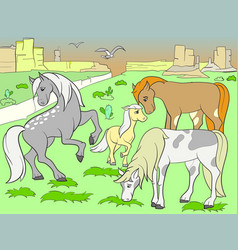 Children colored cartoon horses grazing on meadow vector