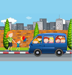 Children in a bus scene vector