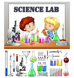 Children working in the science lab vector