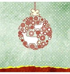 Christmas deer bauble card vector image vector image