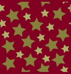 christmas stars golden on red background seamless vector image