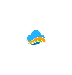 cloud colored wave computer logo vector image