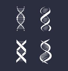 Collection dna deoxyribonucleic acid chain logo vector