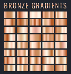 collection of bronze metallic gradient brilliant vector image