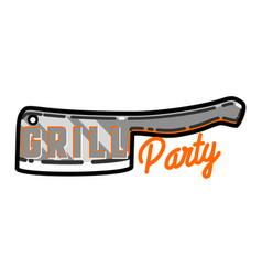 Color vintage grill party emblem vector