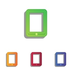 Computer tablet sign Colorfull applique icons set vector image