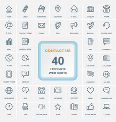 Contact us - set of thin line web icons isolated vector