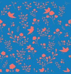 Coral hand drawn flowers and birds on blue vector