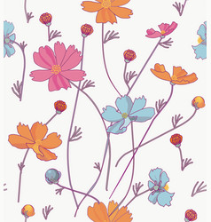 cosmos flowers orange and blue vector image