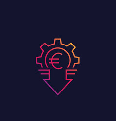 Cost reduction icon with euro line style vector