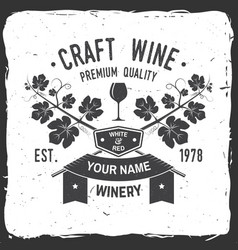 Craft wine winer company badge sign or label vector
