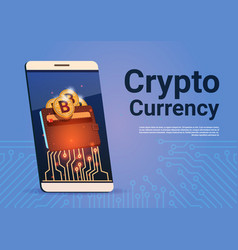 Crypto currency banner smart phone bitcoin wallet vector