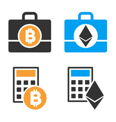 Cryptocurrency accounting icon set vector
