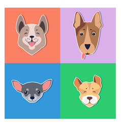cute dogs muzzles cartoon flat icons vector image
