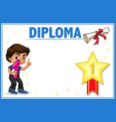 Diploma with boy concept vector