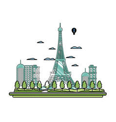 Doodle air balloons citycape and eiffel tower vector