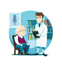 elderly patient on reception at the young doctor vector image