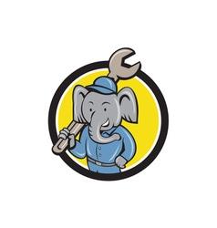 Elephant Mechanic Spanner Shoulder Circle Cartoo vector