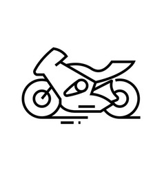 Fast motobike line icon concept sign outline vector