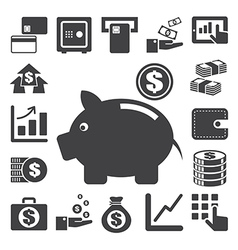 Finance and money icon set eps10 vector image