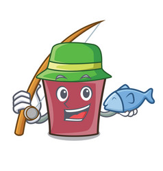 fishing hot chocolate mascot cartoon vector image