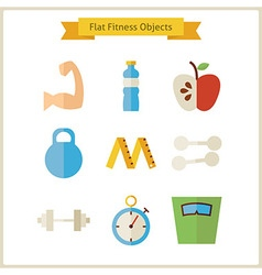 Flat Fitness and Dieting Objects Set vector image